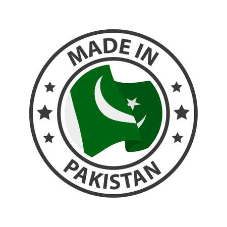 Made in Pakistan icon. Stamp made in with country flag