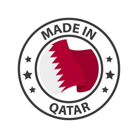 Made in Qatar icon. Stamp made in with country flag 矢量图像