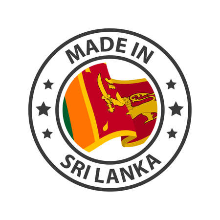 Made in Sri Lanka icon. Stamp made in with country flag