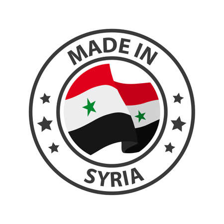Made in Syria icon. Stamp made in with country flag 矢量图像