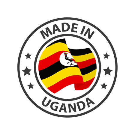 Made in Uganda icon. Stamp made in with country flag