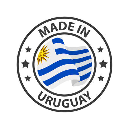 Made in Uruguay icon. Stamp made in with country flag