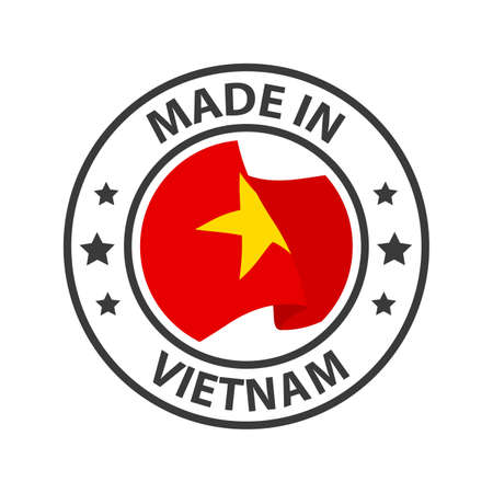 Made in Vietnam icon. Stamp made in with country flag 矢量图像