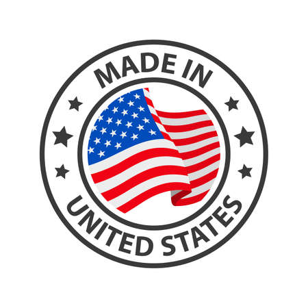 Made in the USA icon. Stamp made in with country flag 矢量图像