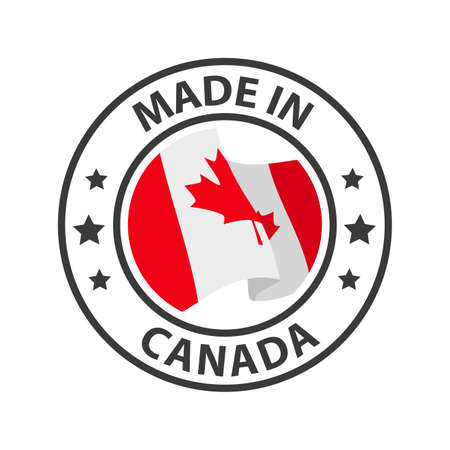 Made in Canada icon. Stamp made in with country flag