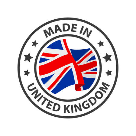 Made in the United Kingdom icon. Stamp made in with country flag