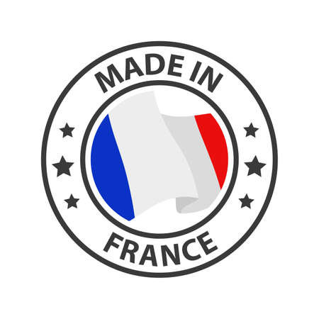 Made in France icon. Stamp made in with country flag