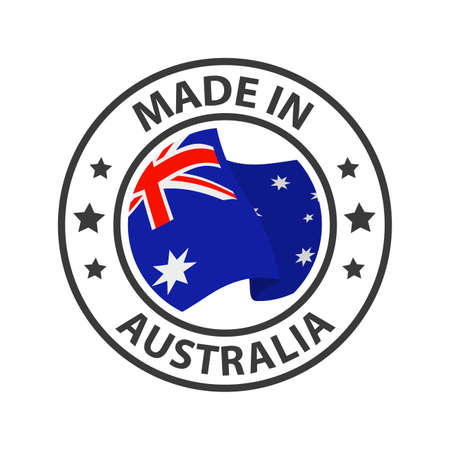 Made in Australia icon. Stamp made in with country flag