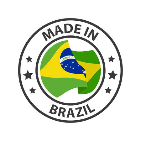 Made in Brazil icon. Stamp made in with country flag 矢量图像