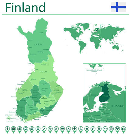 Finland detailed map and flag. Finland on world map.