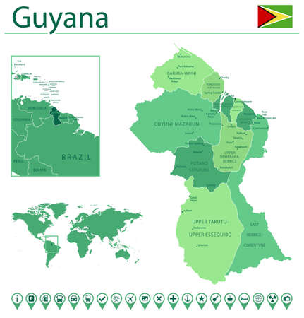 Detailed map of Guyana with country flag and location on world map. Vector illustration