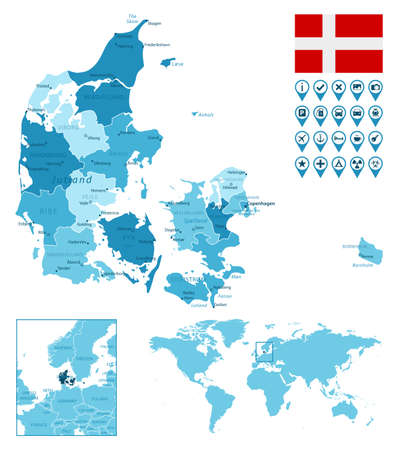 Denmark detailed administrative blue map with country flag and location on the world map.