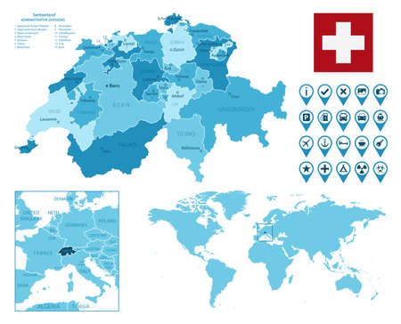 Switzerland detailed administrative blue map with country flag and location on the world map.