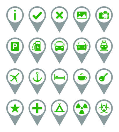Green - Gray Travel Icons. Set 20 Vector Icons.