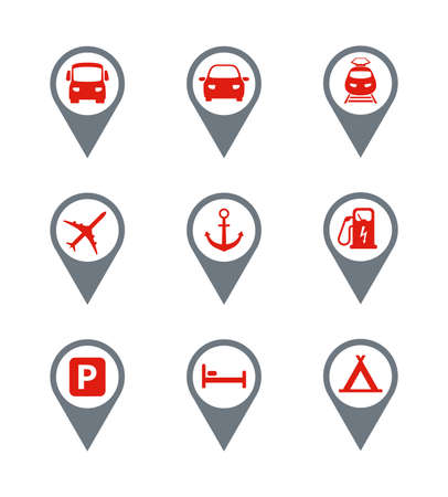 Red - Gray Travel Icons. Set 20 Vector Icons.
