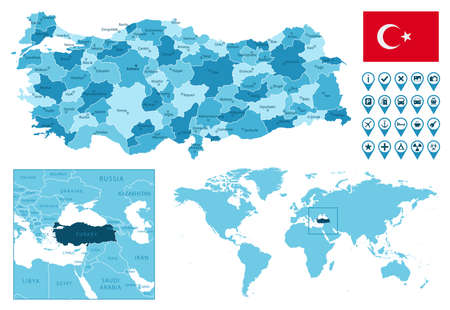 Turkey detailed administrative blue map with country flag and location on the world map.