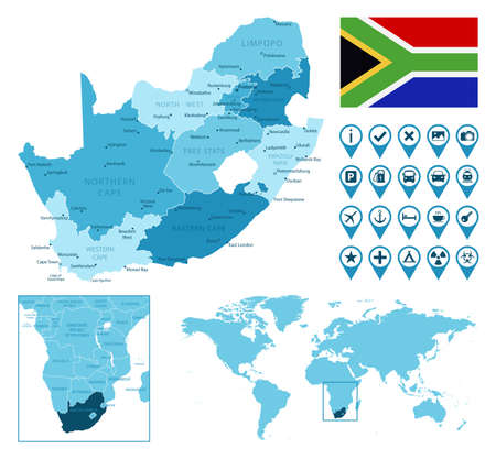 South Africa detailed administrative blue map with country flag and location on the world map.