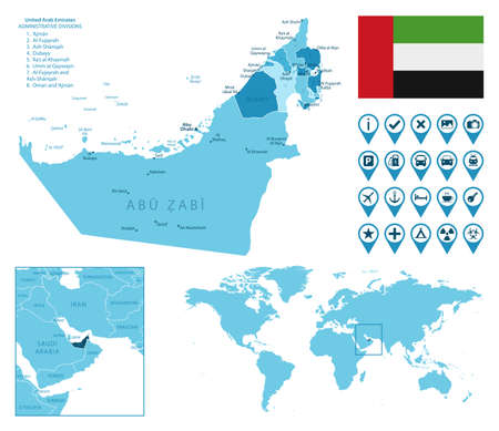 United Arab Emirates detailed administrative blue map with country flag and location on the world map.