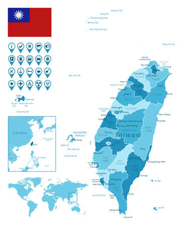 Taiwan detailed administrative blue map with country flag and location on the world map.