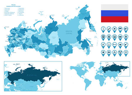 Russia detailed administrative blue map with country flag and location on the world map.
