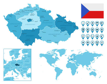 Czech Republic detailed administrative blue map with country flag and location on the world map.