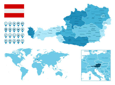 Austria detailed administrative blue map with country flag and location on the world map. Ilustração