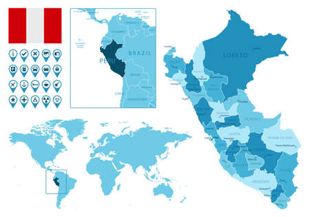 Peru detailed administrative blue map with country flag and location on the world map.