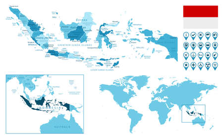 Indonesia detailed administrative blue map with country flag and location on the world map.