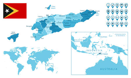 East Timor detailed administrative blue map with country flag and location on the world map.
