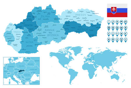 Slovakia detailed administrative blue map with country flag and location on the world map.