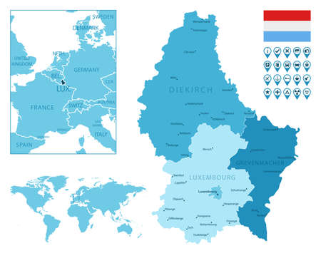 Luxembourg detailed administrative blue map with country flag and location on the world map.