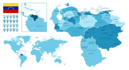 Venezuela detailed administrative blue map with country flag and location on the world map. Ilustração