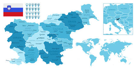 Slovenia detailed administrative blue map with country flag and location on the world map. Ilustração