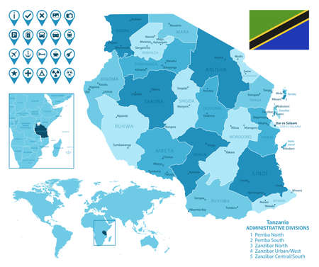 Tanzania detailed administrative blue map with country flag and location on the world map.