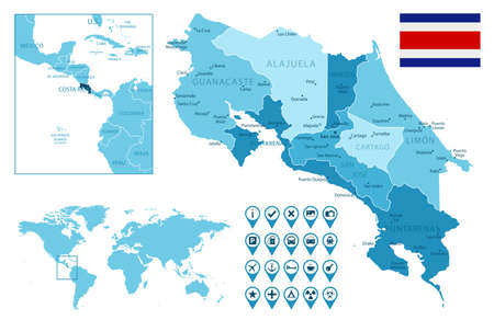 Costa Rica detailed administrative blue map with country flag and location on the world map.