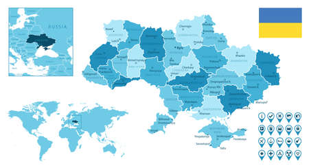 Ukraine detailed administrative blue map with country flag and location on the world map.