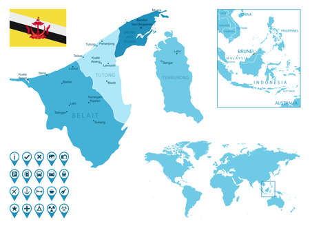 Brunei detailed administrative blue map with country flag and location on the world map. Ilustração