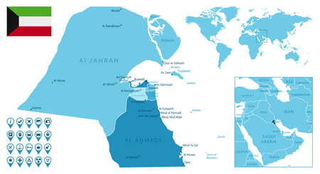 Kuwait detailed administrative blue map with country flag and location on the world map.