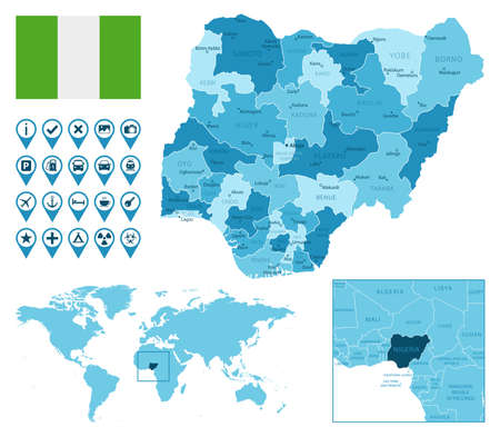 Nigeria detailed administrative blue map with country flag and location on the world map.