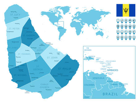 Barbados detailed administrative blue map with country flag and location on the world map. Ilustração