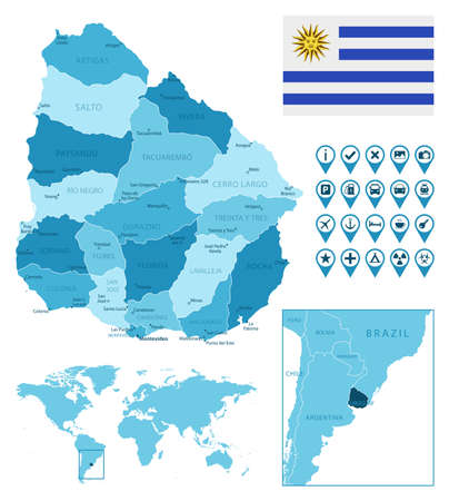 Uruguay detailed administrative blue map with country flag and location on the world map.