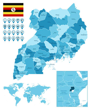 Uganda detailed administrative blue map with country flag and location on the world map.
