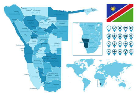 Namibia detailed administrative blue map with country flag and location on the world map.
