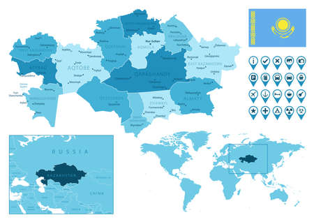 Kazakhstan detailed administrative blue map with country flag and location on the world map.