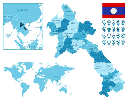 Laos detailed administrative blue map with country flag and location on the world map.