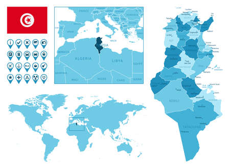 Tunisia detailed administrative blue map with country flag and location on the world map.