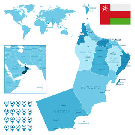 Oman detailed administrative blue map with country flag and location on the world map.