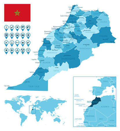 Morocco detailed administrative blue map with country flag and location on the world map. Ilustração