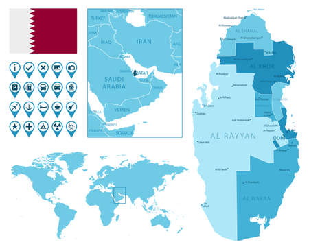 Qatar detailed administrative blue map with country flag and location on the world map. Ilustração