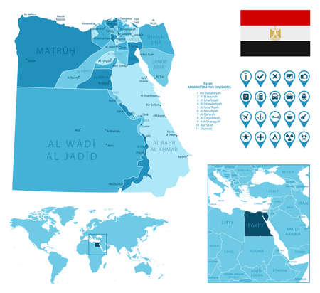 Egypt detailed administrative blue map with country flag and location on the world map. Ilustração